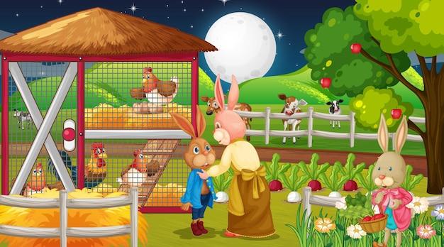 Scène de ferme la nuit avec une famille de lapins et des animaux de la ferme
