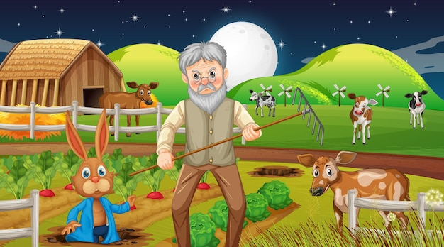 Scène de ferme de nuit avec un vieil agriculteur et des animaux de la ferme