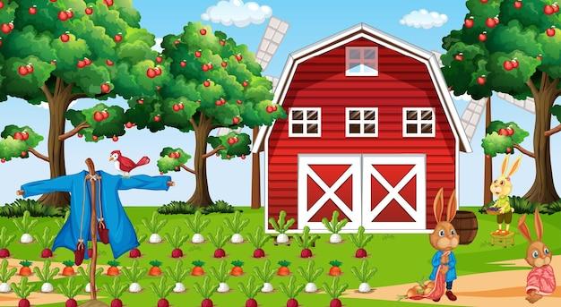 Scène de ferme pendant la journée avec une famille de lapins
