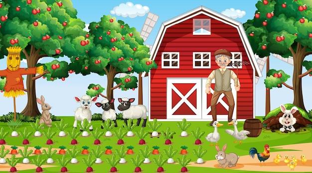 Scène de ferme pendant la journée avec un vieil agriculteur et des animaux mignons