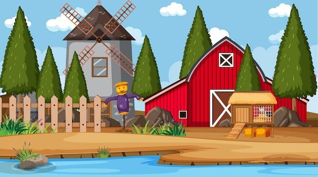 Scène de ferme vide avec grange rouge et moulin à vent
