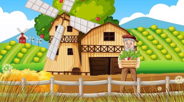 Scène de ferme avec un vieux fermier et des animaux de la ferme