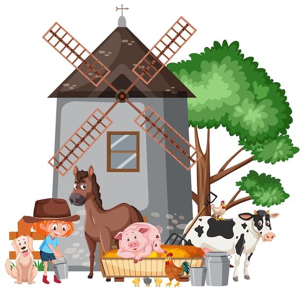 Scène avec une fermière nourrissant de nombreux animaux à la ferme