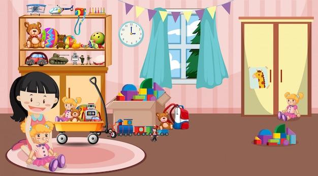 Scène avec fille jouant des jouets dans la chambre