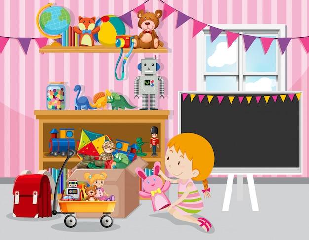 Scène avec une fille et de nombreux jouets dans la chambre
