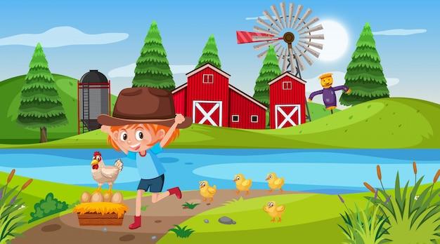 Scène avec fille et poulet dans la cour de ferme