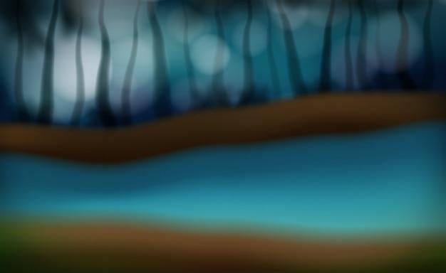 Une scène floue de la rivière de nuit