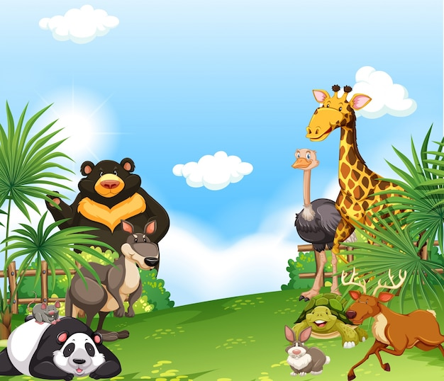 Scène de fond avec des animaux sauvages dans le domaine