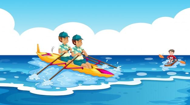 Scène de fond avec des athlètes en canoë dans l'océan