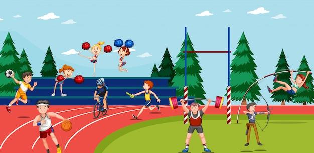 Scène de fond avec des athlètes faisant des événements d'athlétisme