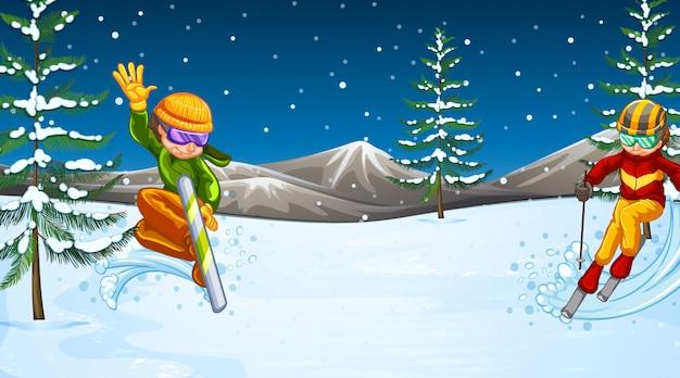Scène de fond avec des athlètes pratiquant des sports d'hiver