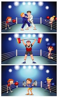 Scène de fond avec des athlètes se battant dans le ring