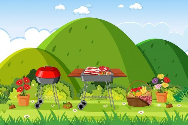 Scène de fond avec barbecue dans le parc