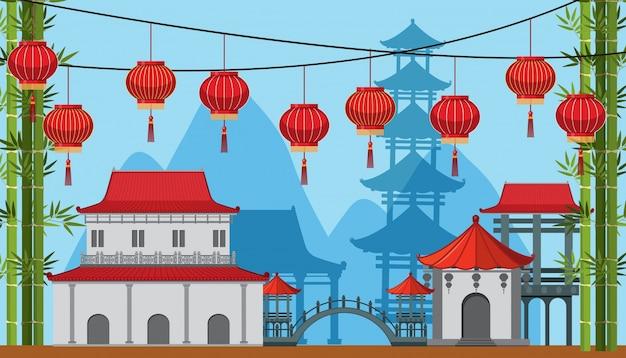 Scène de fond avec des bâtiments et des lampes dans la ville de chine
