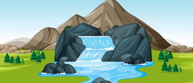 Scène de fond avec cascade