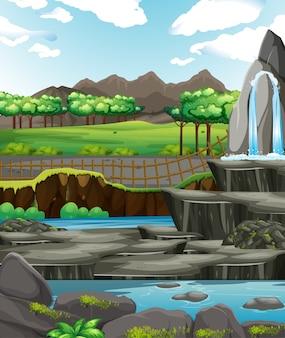 Scène de fond avec de l'eau et des rochers