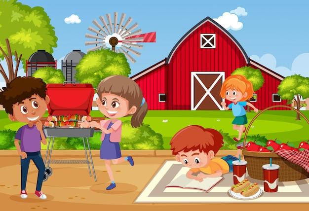 Scène de fond avec des enfants mangeant dans le parc