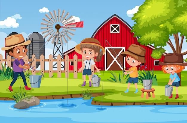 Scène de fond avec des enfants travaillant à la ferme