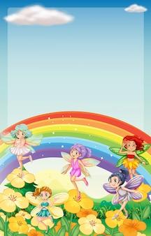 Scène de fond avec des fées survolant l'arc-en-ciel