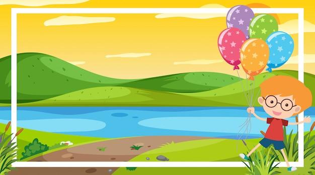 Scène de fond avec un garçon heureux au bord de la rivière