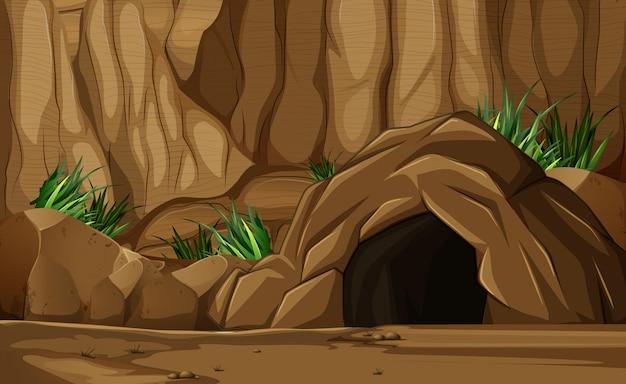 Scène de fond avec une grotte en montagne