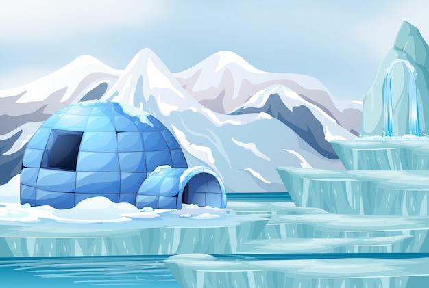 Scène de fond avec un igloo dans l'arctique