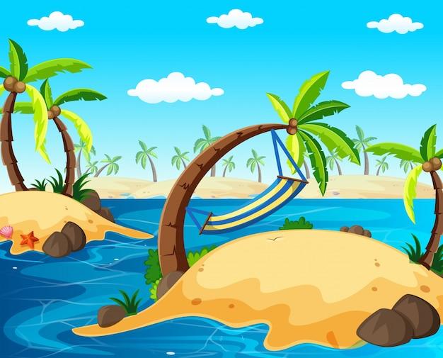Scène de fond avec des îles dans l'océan