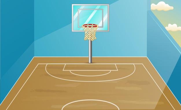 Scène de fond avec illustration de terrain de basket-ball intérieur