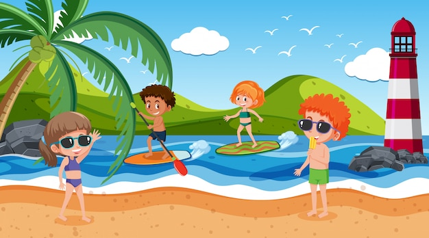Scène de fond avec de nombreux enfants sur la plage