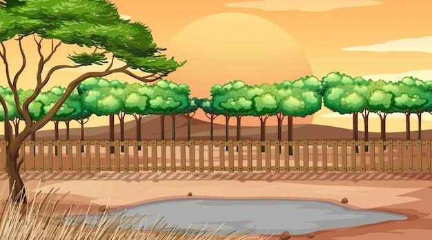 Scène de fond avec parc au coucher du soleil