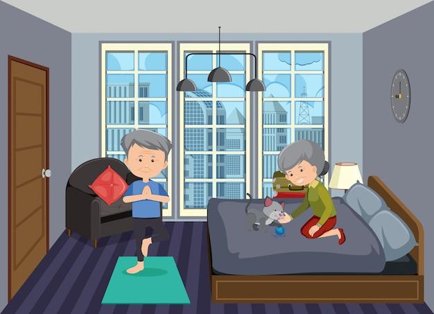 Scène de fond avec des personnes âgées restant à la maison
