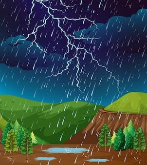 Scène de fond avec de la pluie dans le parc