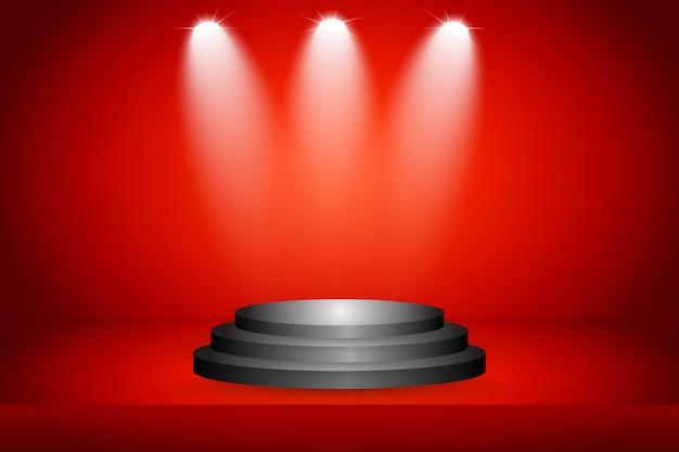 Scène sur fond rouge