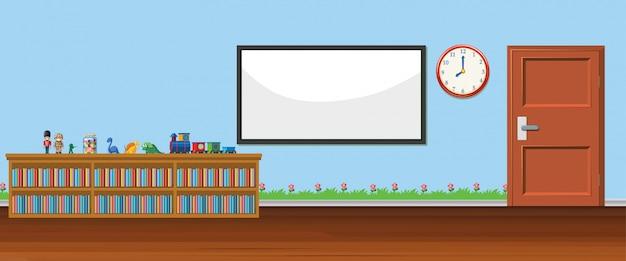Scène de fond avec tableau blanc et jouets
