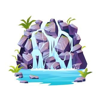 Scène de fontaine de colline rocheuse avec des plantes isolées