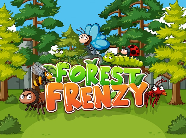 Scène forestière avec mot frénésie forestière avec des animaux sauvages