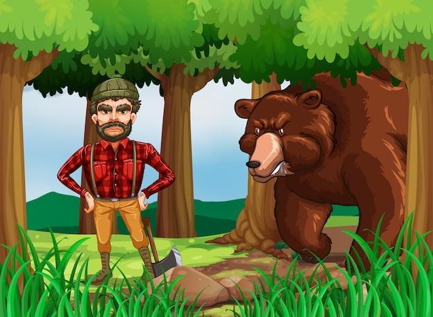 Scène de la forêt avec un bûcheron et un ours