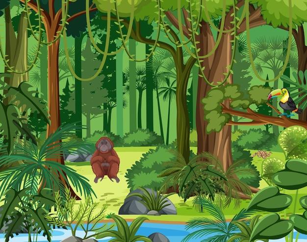 Scène de forêt avec différents animaux sauvages