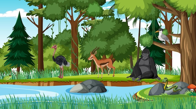 Scène De Forêt Avec Différents Animaux Sauvages Vecteur Premium