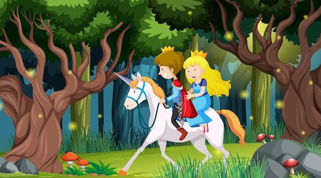 Scène de forêt fantastique avec prince et princesse