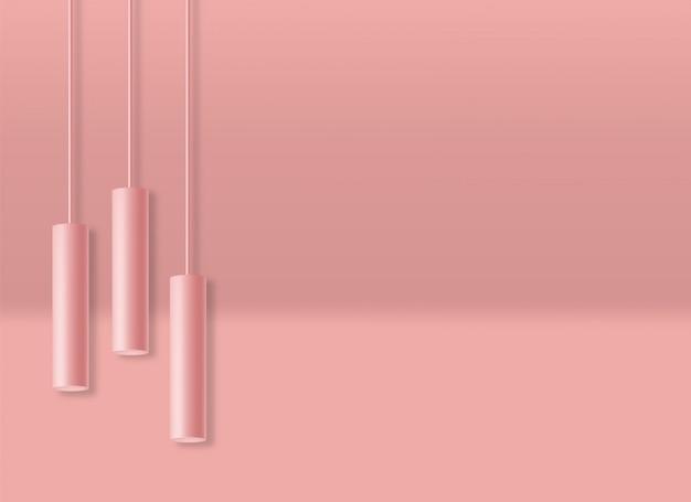Scène de forme géométrique réaliste, fond bleu, forme minimale isolée, abstraite, illustration de lumières de cylindre
