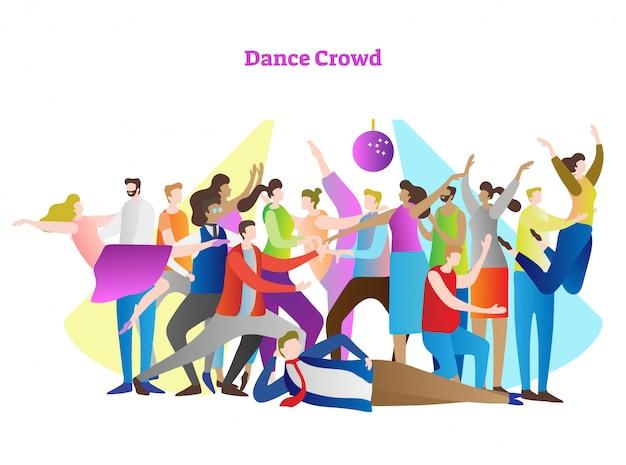 Scène de la foule dansante