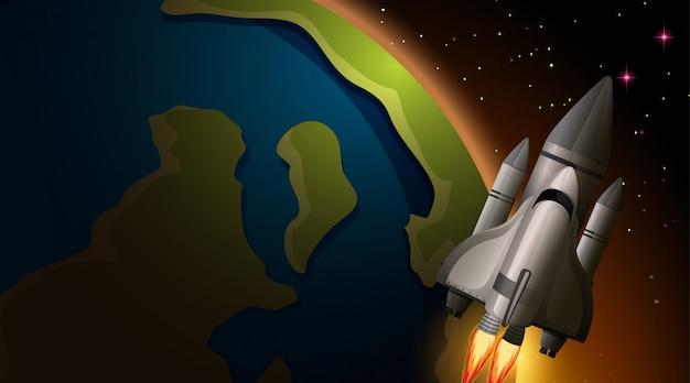 Scène fusée et la terre