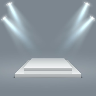 Scène gagnante de piédestaux de scène avec éclairage