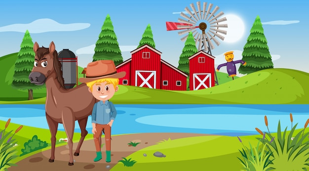Scène avec garçon et cheval à la ferme