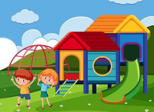 Scène avec garçon et fille dans le parc