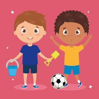 Scène de garçons debout jouant illustration