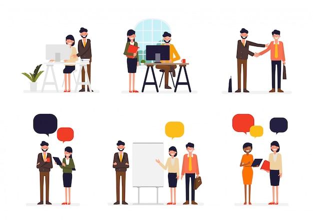 Scène de gens d'affaires en personnage de bureau.