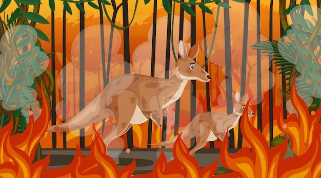 Scène avec grand feu de forêt avec un animal pris au piège dans la forêt