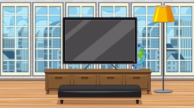 Scène avec grande télé et siège dans la chambre